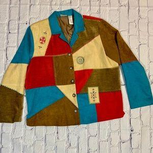 Vintage Women's Patchwork Faux Suede Jacket Size L
